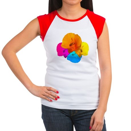 Honeybee Poppy Art Women's Cap Sleeve T-Shirt