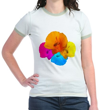 Honeybee Poppy Art Jr. Ringer T-Shirt