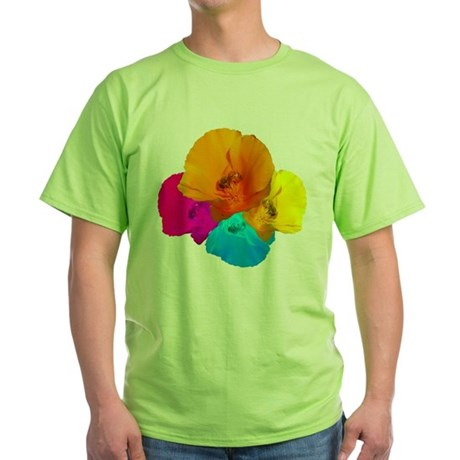 Honeybee Poppy Art Green T-Shirt