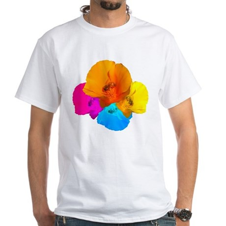 Honeybee Poppy Art White T-Shirt
