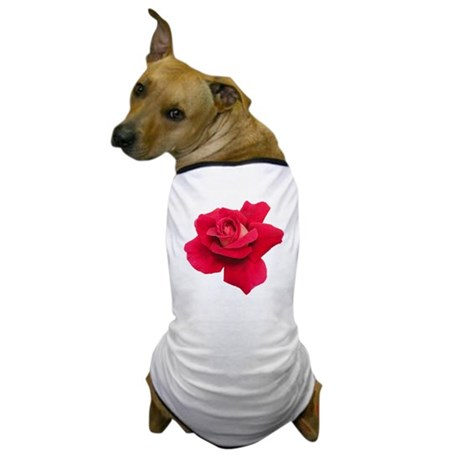 Black White Red Rose Dog T-Shirt
