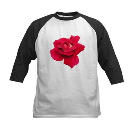 Black White Red Rose Kids Baseball Jersey