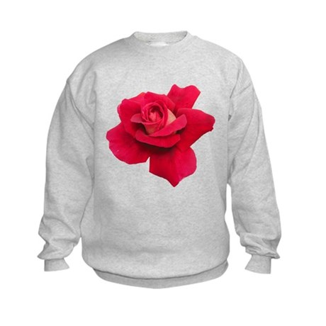 Black White Red Rose Kids Sweatshirt