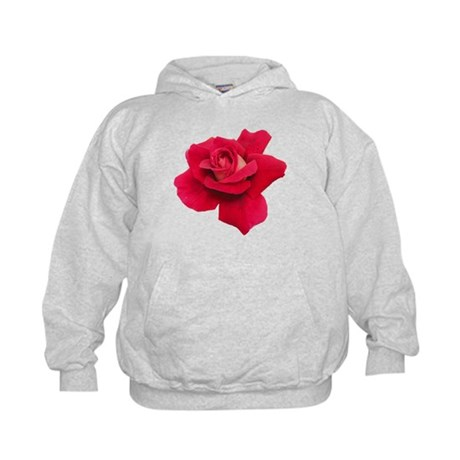 Black White Red Rose Kids Hoodie