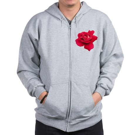 Black White Red Rose Zip Hoodie