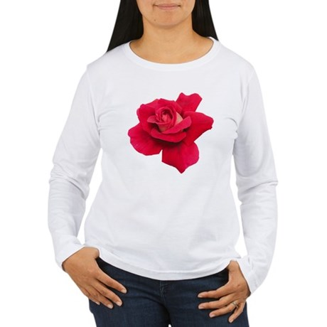 Black White Red Rose Women's Long Sleeve T-Shirt