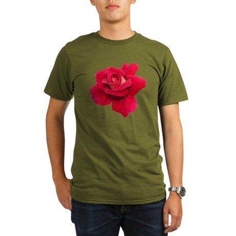 Black White Red Rose Organic Men's T-Shirt (dark)