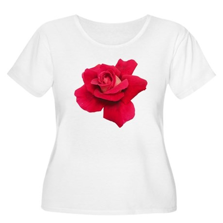 Black White Red Rose Women's Plus Size Scoop Neck