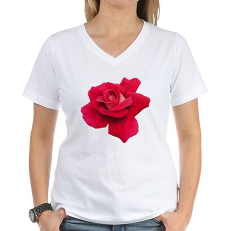 Black White Red Rose Women's V-Neck T-Shirt