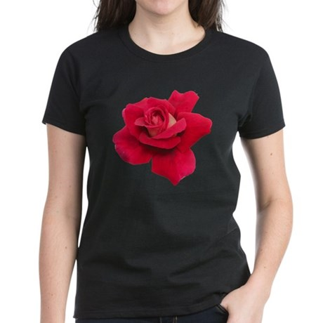 Black White Red Rose Women's Dark T-Shirt