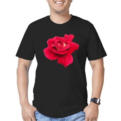 Black White Red Rose Men's Fitted T-Shirt (dark)
