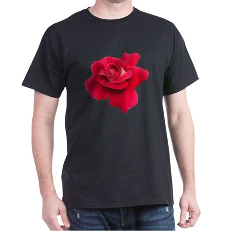 Black White Red Rose Dark T-Shirt