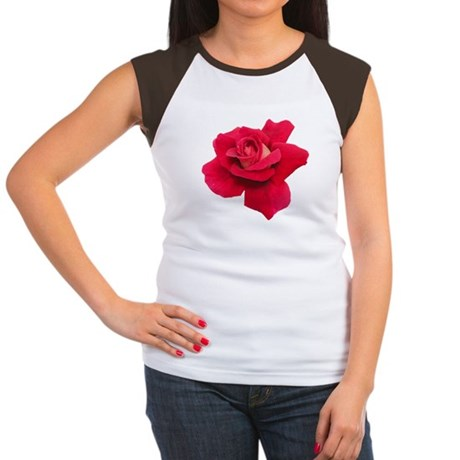 Black White Red Rose Women's Cap Sleeve T-Shirt
