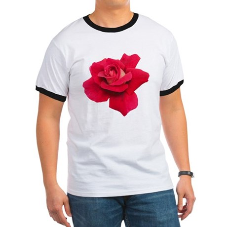 Black White Red Rose Ringer T