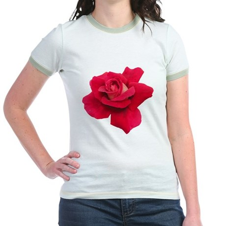 Black White Red Rose Jr. Ringer T-Shirt