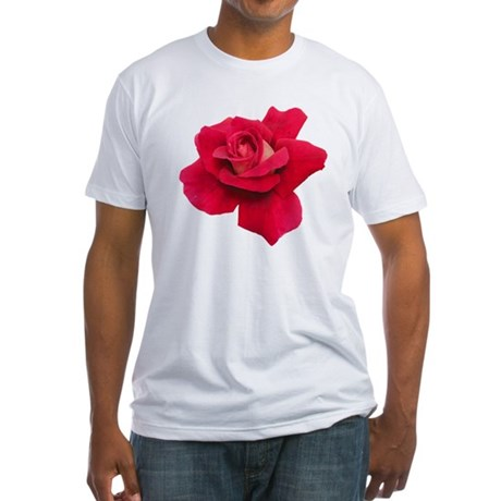 Black White Red Rose Fitted T-Shirt