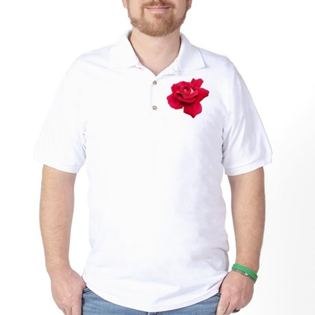 Black White Red Rose Golf Shirt