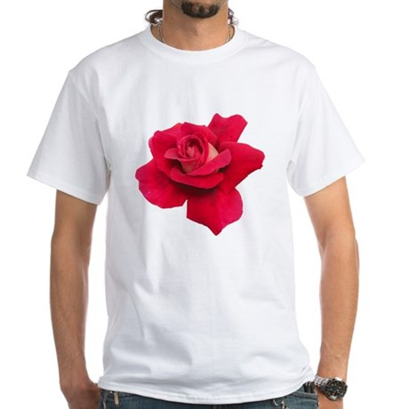 Black White Red Rose White T-Shirt