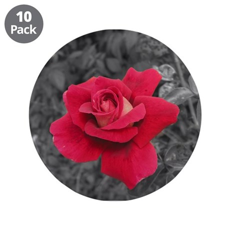 "Black White Red Rose 3.5"" Button (10 pack)"