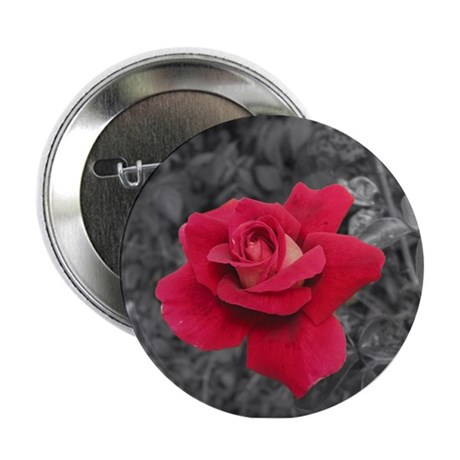 "Black White Red Rose 2.25"" Button"