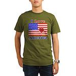 Heart America Flag Organic Men's T-Shirt (dark)