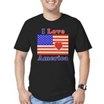 Heart America Flag Men's Fitted T-Shirt (dark)
