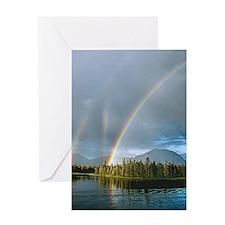Triple Rainbow Greeting Card