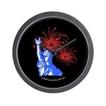 ILY Fireworks Liberty Night Wall Clock