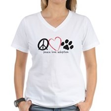 Women's V-Neck Peace Love Adoption T-Shirt