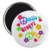 Smile Groovy Love Peace 2.25&quot; Magnet (10 pack)