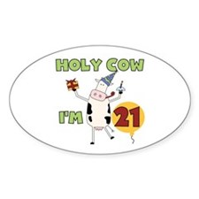 Cow 21st Birthday Oval Decal