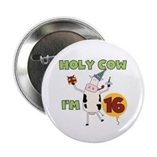 "Cow 16th Birthday 2.25"" Button (100 pack)"