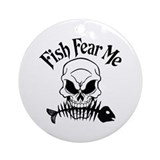 Fish Fear Me Skull Ornament (Round)