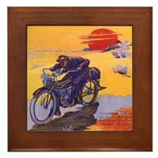 Vintage Motorcycle Framed Tile