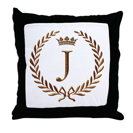 Napoleon initial letter J monogram Throw Pillow