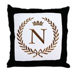 Napoleon initial letter N monogram Throw Pillow
