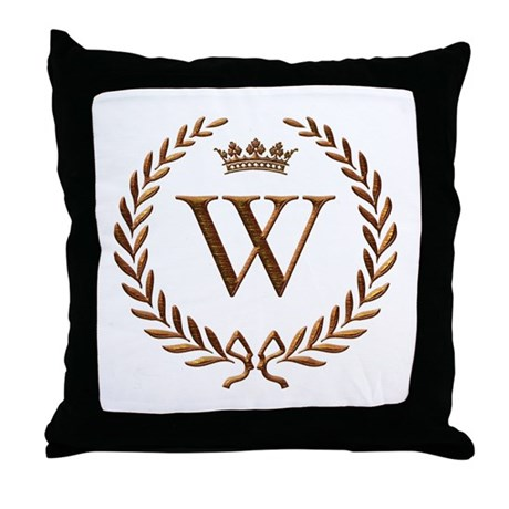 More fun stuff gt napoleon initial letter w monogram throw pillow