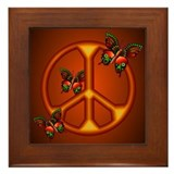 Orange Butterflies Peace Sign Framed Tile