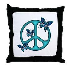 Peaceful Blue Butterflies Pea Throw Pillow