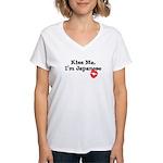 Kiss Me, I'm Japanese Women's V-Neck T-Shirt