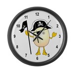 Pirate Egghead Large Wall Clock