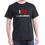 I Love Sailboarding Black T-Shirt