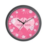 Best Friends Pink Double Heart Wall Clock