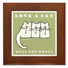Love a Cat, Heal the World Framed Tile