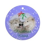 Christmas Kisses wolf Ornament (Round)