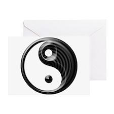 Black Striped Yin Yang Greeting Card
