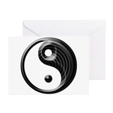 Black Striped Yin Yang Greeting Cards (Pk of 10)