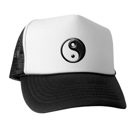 Black Striped Yin Yang Trucker Hat