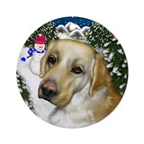Labrador Retriever Dog Snowman Ornament (Round)