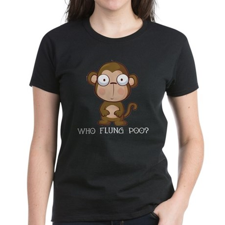 Who Flung Poo? Women's Dark T-Shirt